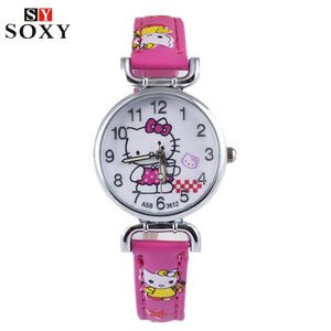 Hello Kitty Watch Children's Watches For Girls Leather Kids Watches Cartoon Watch Baby Hello Kitty Clock kol saati relogio reloj