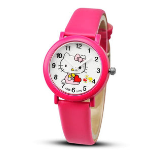 2018 Hello Kitty Cartoon Watches Kid Girls Leather Straps Wristwatch Children Hellokitty Quartz Watch Cute Clock Montre Enfant