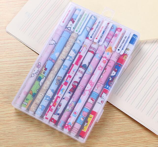 10 pcs/set Cute stationery Colorful Hello kitty gel pen 0.5 mm colored ink pens for writing escolar office school supplies zakka