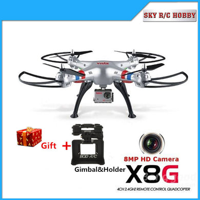 SYMA X8G 2.4G 4CH 6 Axis Venture with 5MP/8MP  Wide Angle HD Camera RC Quadcopter drone  a Gimbal As Gift Fit Gropro