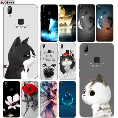 Phone Case For Coque Vivo V9 Cover Cute Cartoon Dog Wolf Print TPU Soft Silicone Cases Back For BBK Vivo V9 Case For Vivo Y85
