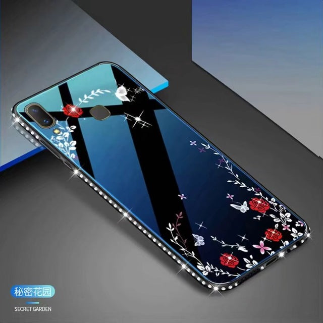 For Vivo V9 Blue Ray Mirror Glass Tpu Glitter Backless Dress Girl Secret Garden Flower Pattern Back Case for Vivo V 9 Vivo Y85