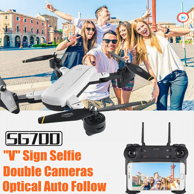 Double Camera Drone With Camera Hd Optical Follow Selfie Drones Fpv Quadcopter RC Helicopter Toys For Kids SG700 Dron Vs Xs809hw