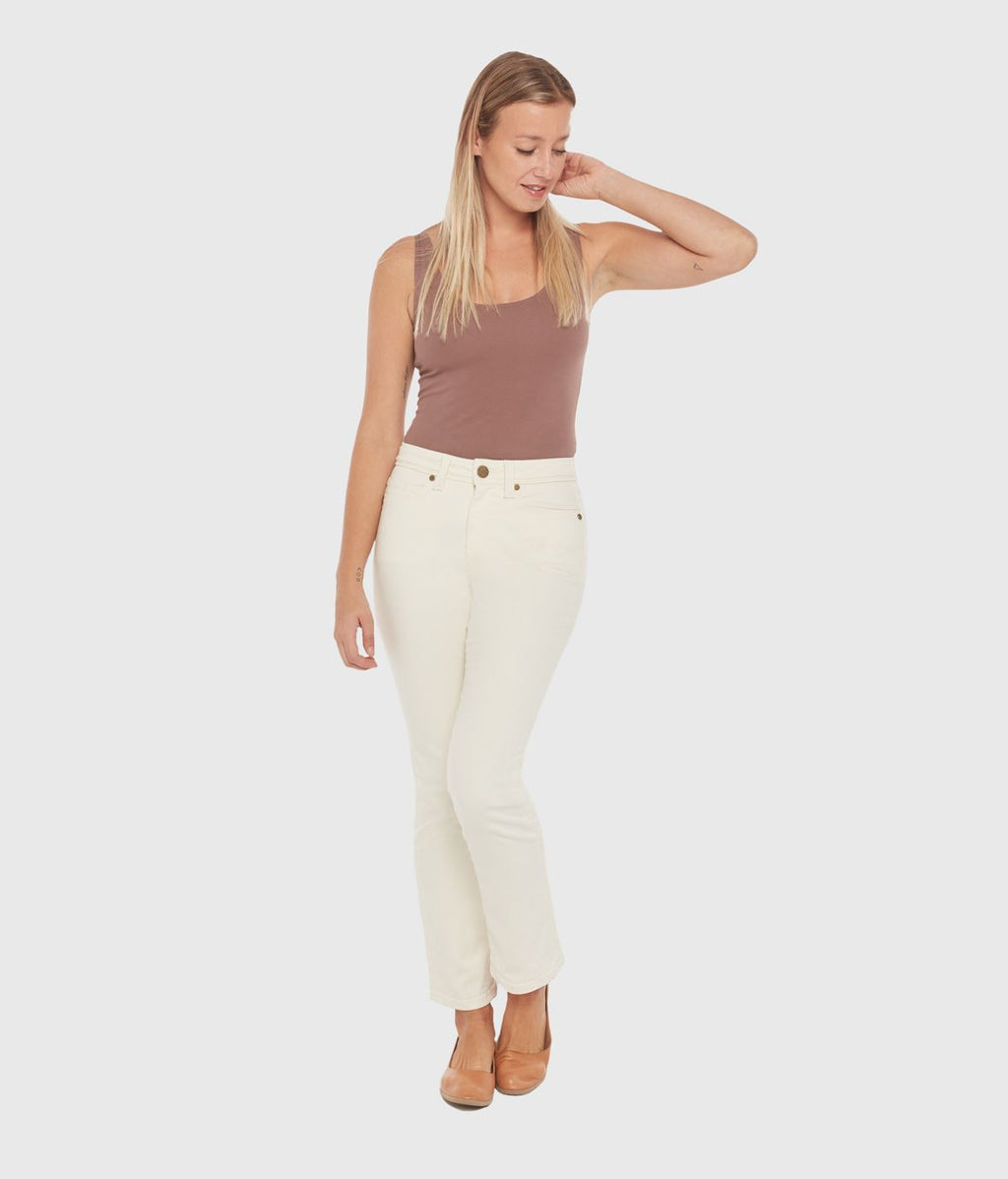 Kate High Rise Straight Jean - Ivory