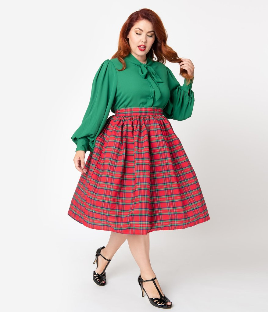 Red Plaid High Waist Circle Swing Skirt
