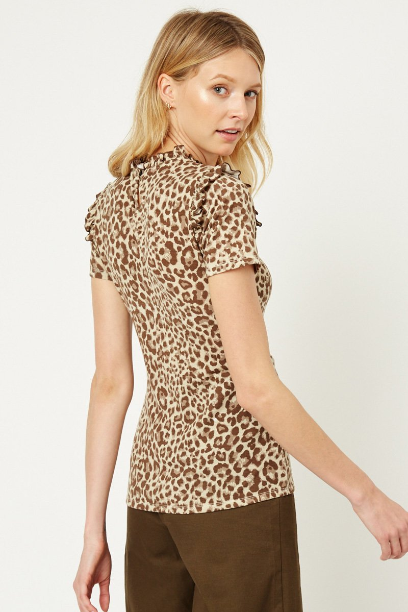LEOPARD RUFFLE HIGH NECK TOP