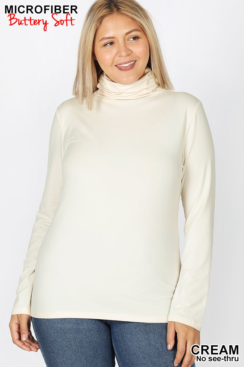 Mock Neck Long Sleeve Top in Cream