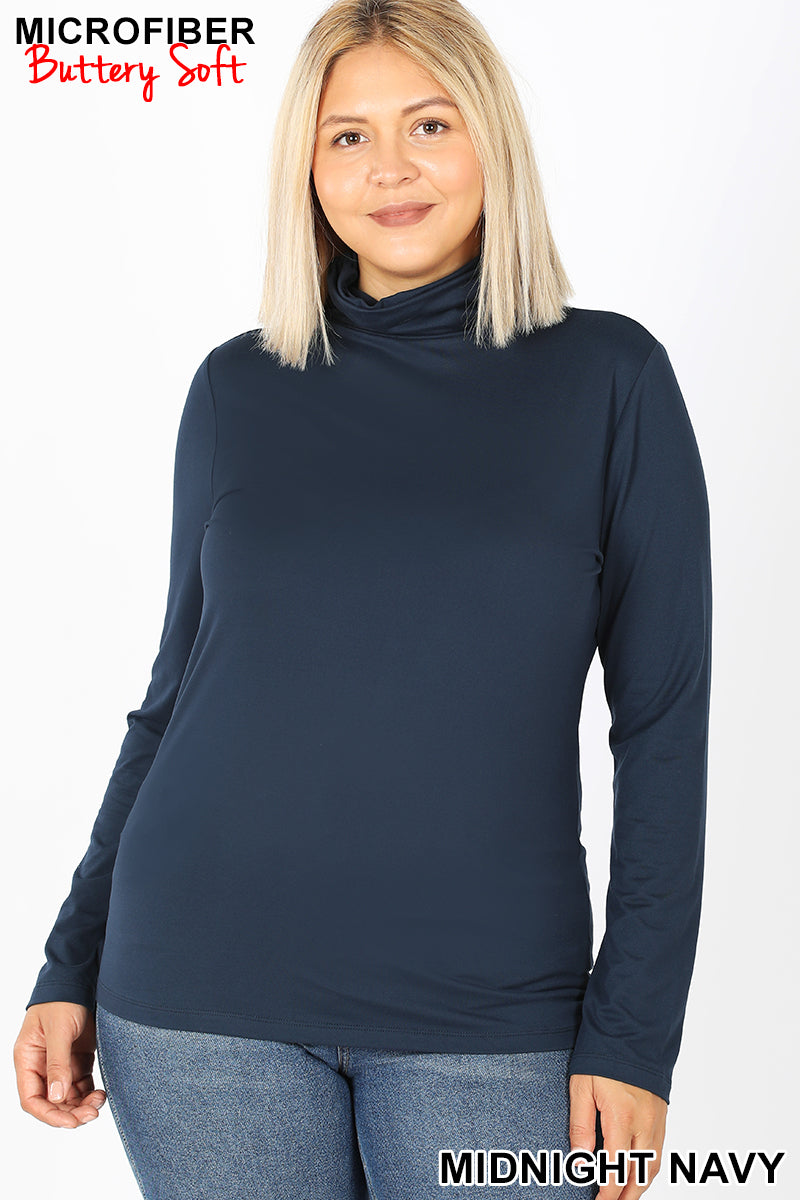 Mock Neck Long Sleeve Top in Navy
