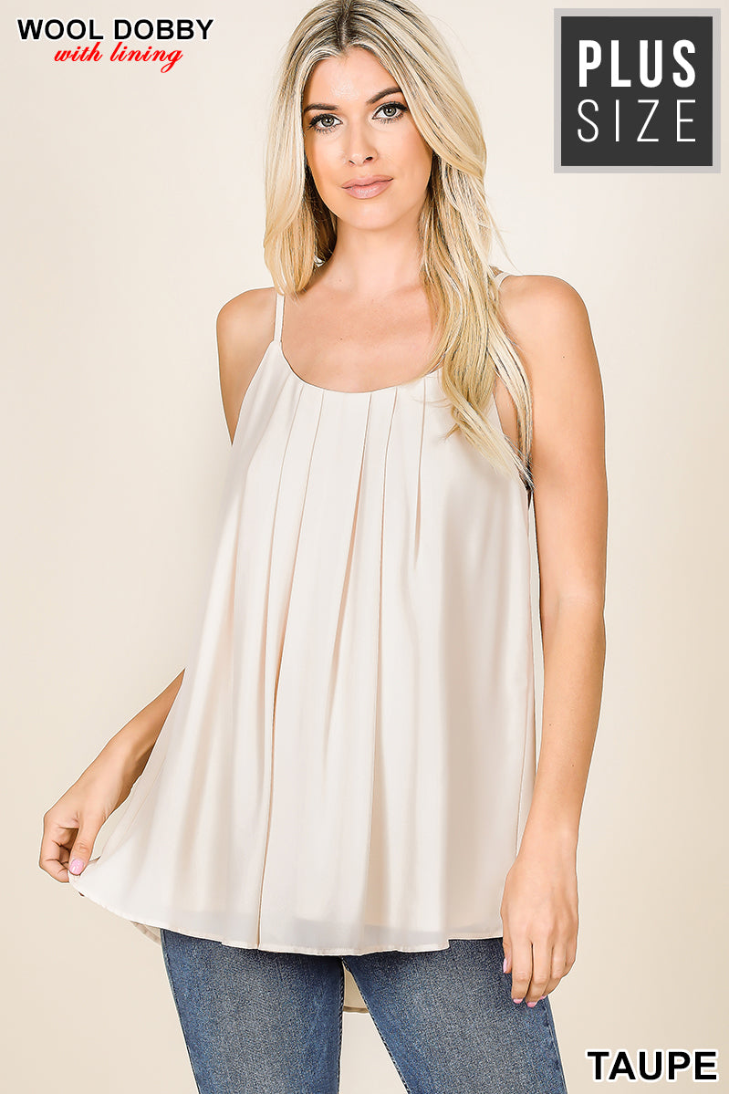 Pleated Tank in Taupe