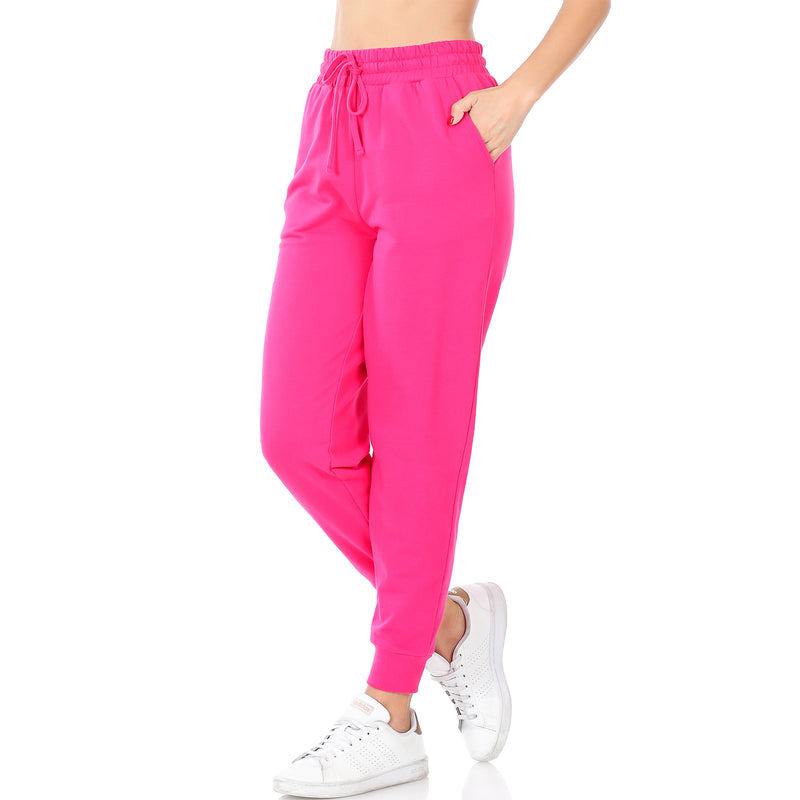 The Nichole French Terry Jogger Set in Hot Pink