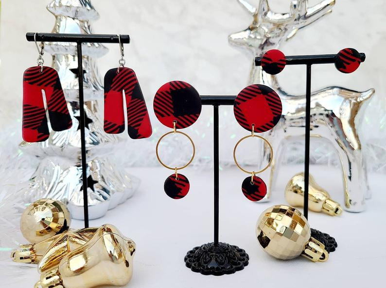 BUFFALO PLAID ROUND EARRINGS