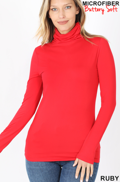 Mock Neck Long Sleeve Top in Red