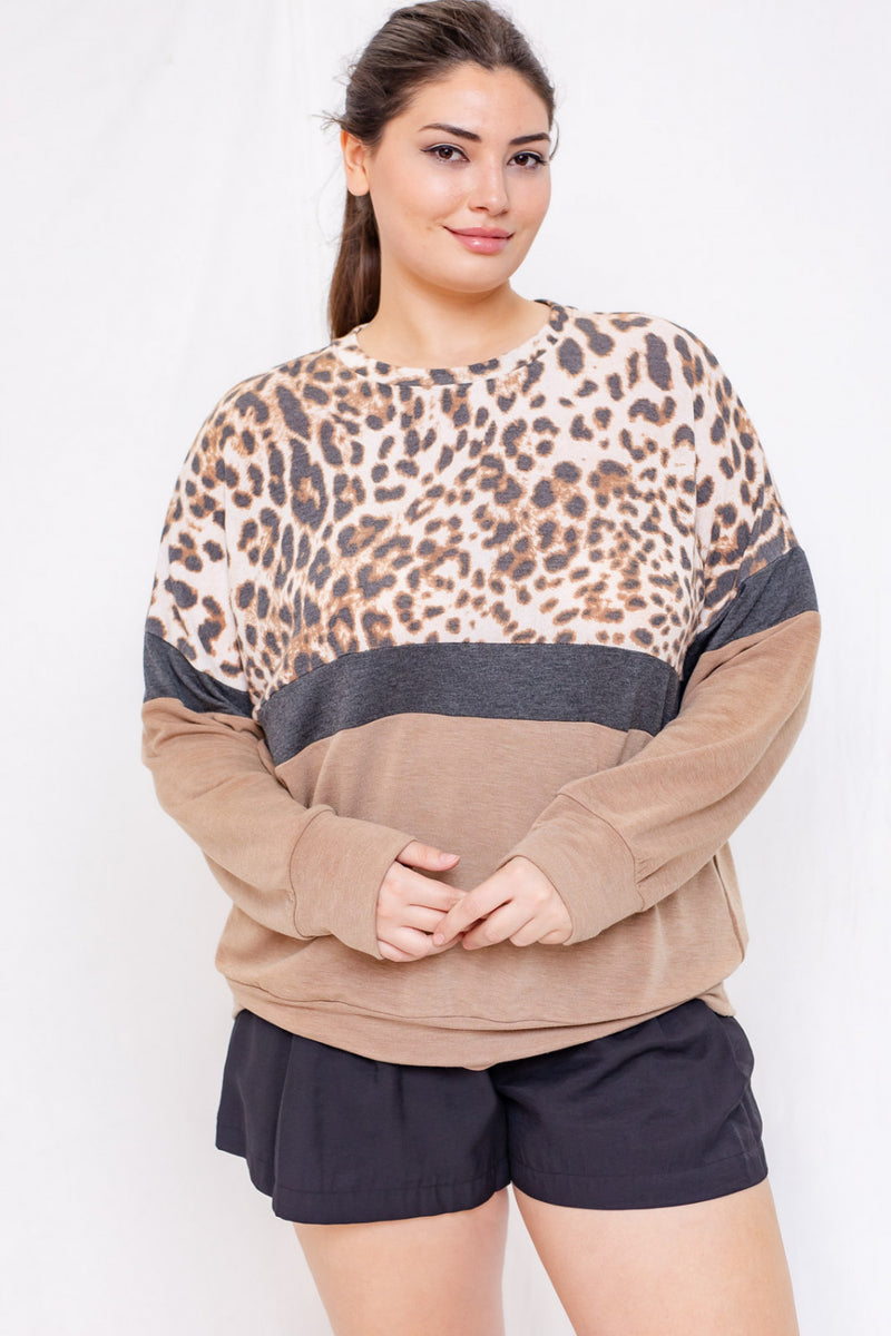 LONG SLEEVE LEOPARD MIXED MEDIA TOP