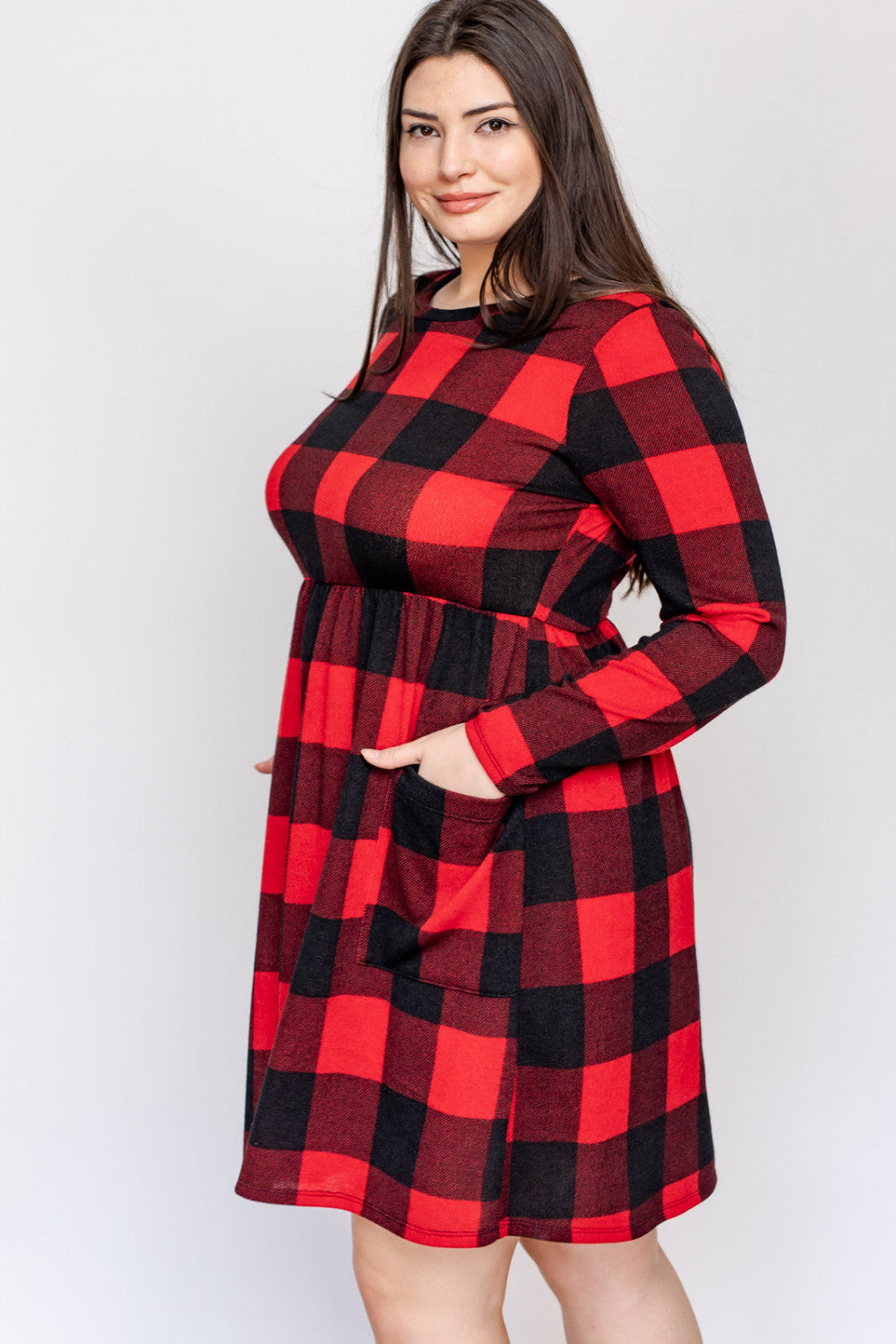 RED BUFFALO PLAID MIDI DRESS