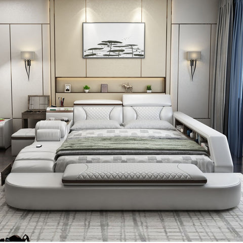 Tatami Wedding Double Smart Bed Frame With Dressing Table Bedroom Furniture спальня мебель Leather Bed кровать двуспальная