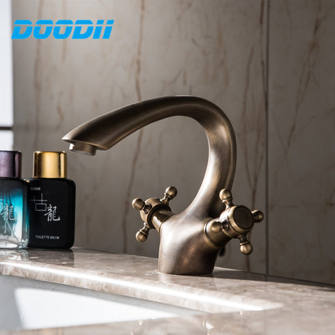 Bathroom Faucet Antique bronze finish Brass Sink Hot Cold Water kitchen Faucets Double Handle Cold And Hot Water Tap Torneira