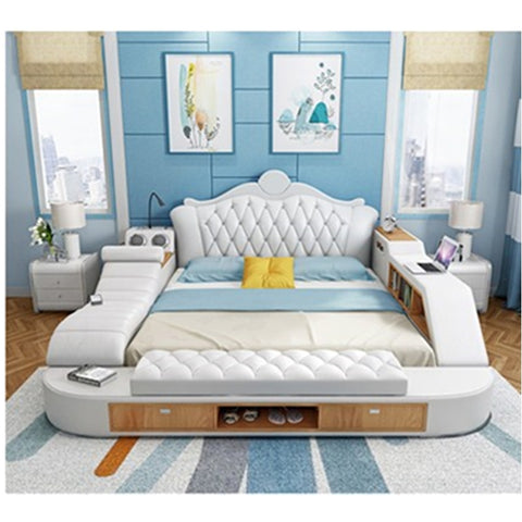 Modern multi-function Furniture Sofa Bed Smart Message Tatami Bed Leather Bed