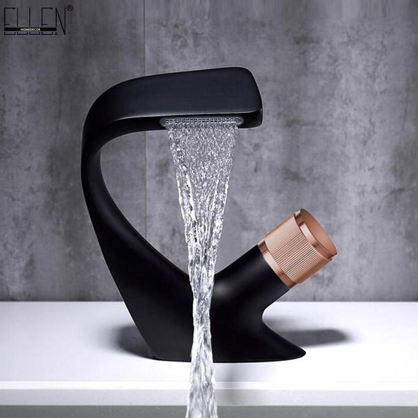 Black Faucet Bathroom Sink Faucets Hot Cold Water Mixer