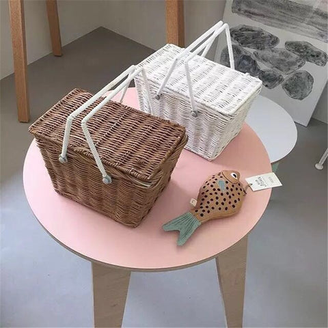 Ins Net Rattan Woven Small Basket Baby Outdoor Travel Picnic Basket Storage Basket Photography Props Summer Wicker Basket Bag