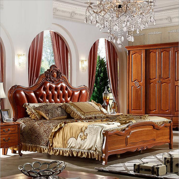 modern european solid wood bed Fashion Carved  genuine leather  french bedroom furniture 10312