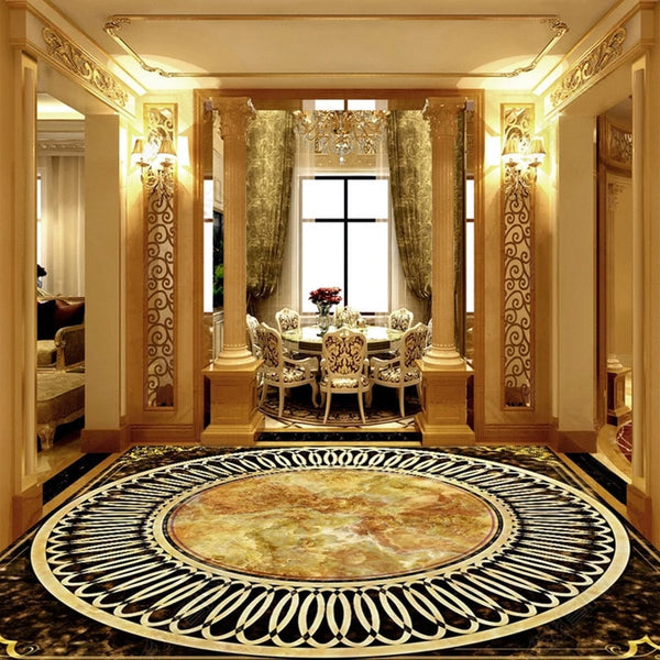 Custom Any Size Floor Mural Wallpaper 3D Marble Tiles Floor PVC Wall Papers European Style Luxury Hotel Living Room Home Decor