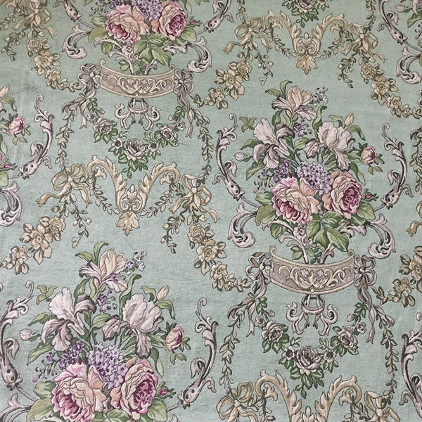 High End Light Green Vintage Flower Polyester Rayon Soft Thick Chenille Floral Woven Sofa Upholstery Curtain Fabrics 280cm Width