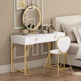 Nordic Small Family Iron Dresser Wind Simple Bedroom Dressing Table Mini Dressing Table Mirror Combination
