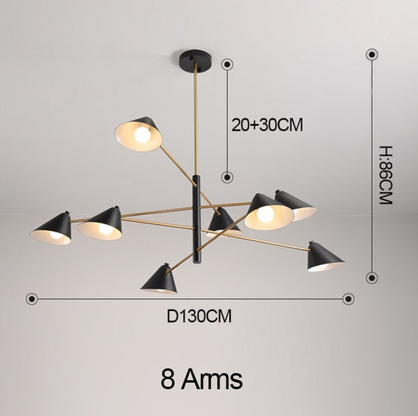 MDWELL Postmodern Chandelier For Living Room Black and Gold Lustre Bedroom E14 bulb Lighting Simple modern Chandeliers Fixtures