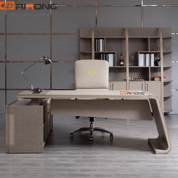 Modern Luxury Elegant Leather  Home Office Study Room Executive Boss Lady 2/2.17m Writing Table Desk With Vice Table