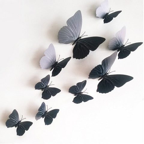 12Pcs/Set PVC 3D Butterfly Shape Wall Stickers For Home Decoration TV Background Kids Bedroom Wall Decal Multi Color DIY Decor