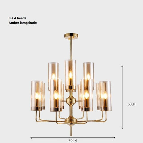 LukLoy NEW Blue Glass Chandelier Bedroom Amber Glass Lampshade Light Luxury Pendant for Living Room Restaurant Decoration Lamp