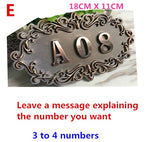 ABS Imitation metal bronze Antique copper House Number custom sign door number sticker for for hotel Apartment Villa door