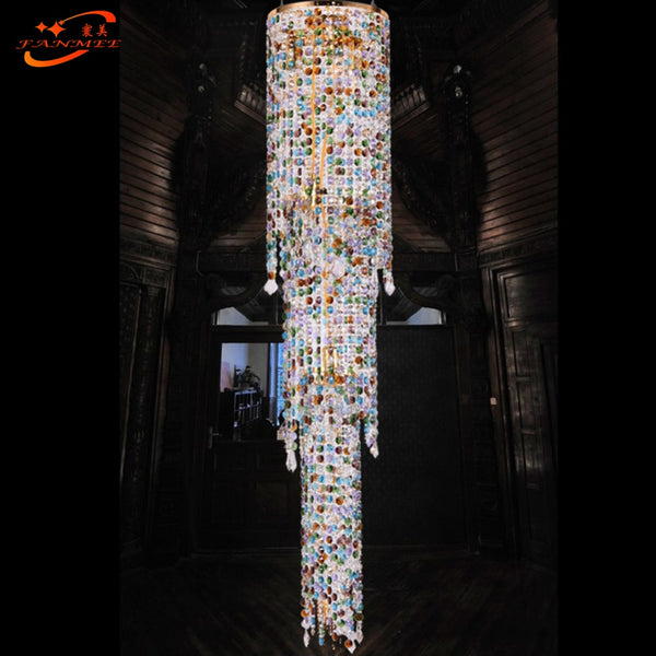 Modern LED Lead Crystal Chandelier Lighting Luxury Hotel Crystal Chandelier Staircase Crystal Chandelier
