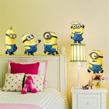 Cartoon minions wall stickers Cute Yellow Boy On Holiday Smashed Window Kids Room Bedroom Decoraton Vinyl Decals Mural Poster