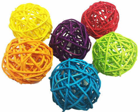 Pet Products Bird Supplies Parrot Color Natural Rattan Ball Bites foot Grip Chew toys 50pc/lot