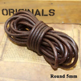 Meetee 1.5-10mm 5Meter Round Flat Leather Rope DIY Bracelet Necklace Jewelry Vintage Cowhide Cord Handmade Decoration CD203
