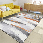 Nordic Minimalist Grey Orange Pattern Area Rug Living Room Sofa Coffee Table Large Carpet Bedroom Kids Tatami Non-Slip Floor Mat