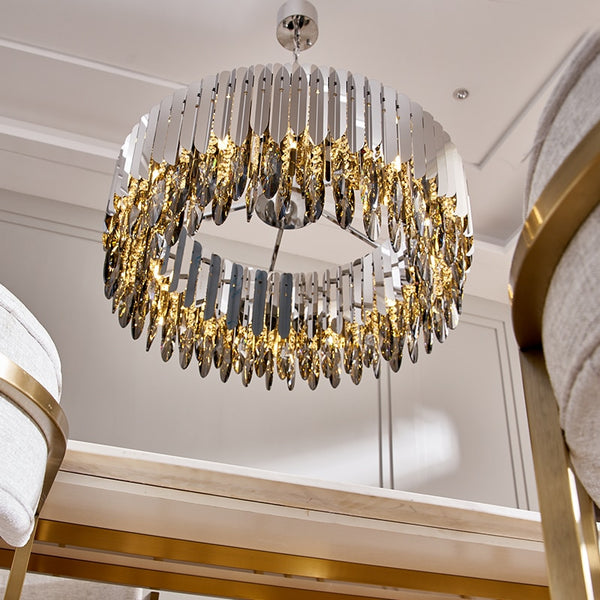 Crystal chandelier chrome decorative chandelier restaurant hotel lamp for living room