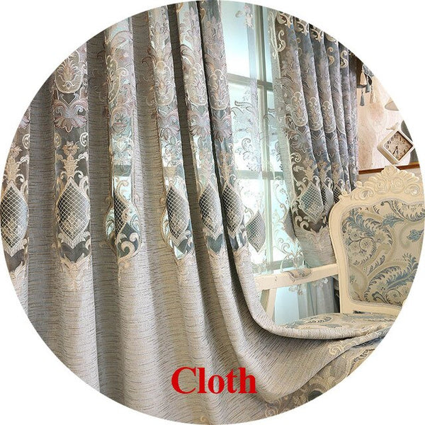 European Hollow Out Embroidery Blackout Grey Curtains for Bedroom Gold Lace Tulle Curtain for Living room Window Drapes M029&4