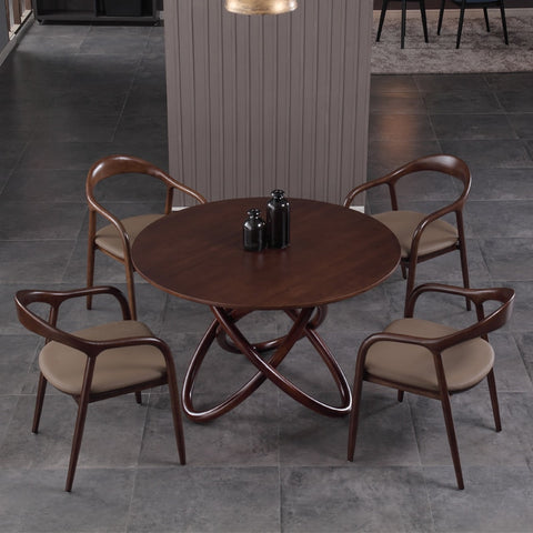 Nordic round dining table and chair combination Modern minimalist small dining room dining table Solid wood table