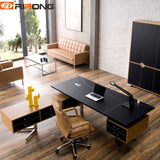 Classic Design Black Brown Leather Wood  Furniture Custom Office Desk Exective Small Home Study Custom Office Desk Sets Table