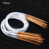 18Pcs/Set Circular Knitting Needles Set DIY Double Cusp Crochet Hooks Set Soft Tube 100% Bamboo Circular Sewing Needles 40-120cm