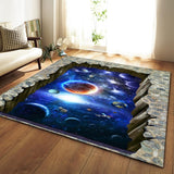 Nordic Carpets Soft Flannel 3D Printed Area Rugs Parlor Galaxy Space Mat Rugs Anti-slip Large Rug Carpet for Living Room Decor