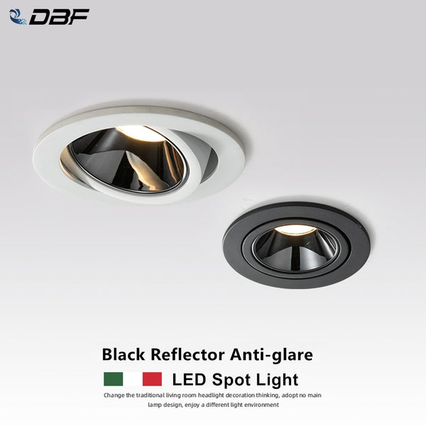 [DBF]2020 New Anti-glare LED Recessed Downlight Dimmable 7W 12W LED Ceiling Spot Light 3000K/4000K/6000K Angle Adjust Spot Lamp