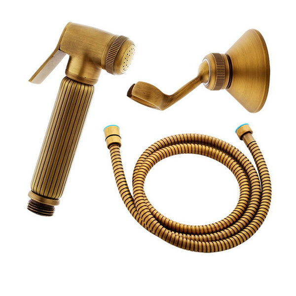 Antique Brass Handheld Bidet Spray Shower Set Copper Bidet Sprayer Lanos Toilet Bidet Faucet Lavatory KD1375