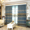 New Luxury Curtains Tulle for Living Room European Blue Chenille Embroidery Velvet Curtains Yarn Bedroom Decorate Panel WP019-3