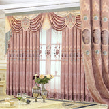 Exquisite European-style Chenille Velvet Embroidery Curtains for Living Dining Room Bedroom.