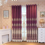 European Curtains for Living Room Luxury Chenille Embroidered Spring Room High Shading Curtains for Dining Room Bedroom