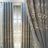 Factory Direct Rural Feng Shui Dissolved Embroidery Stereo Relief Shading Chenille Curtains Living Room Bedroom Shading Curtains