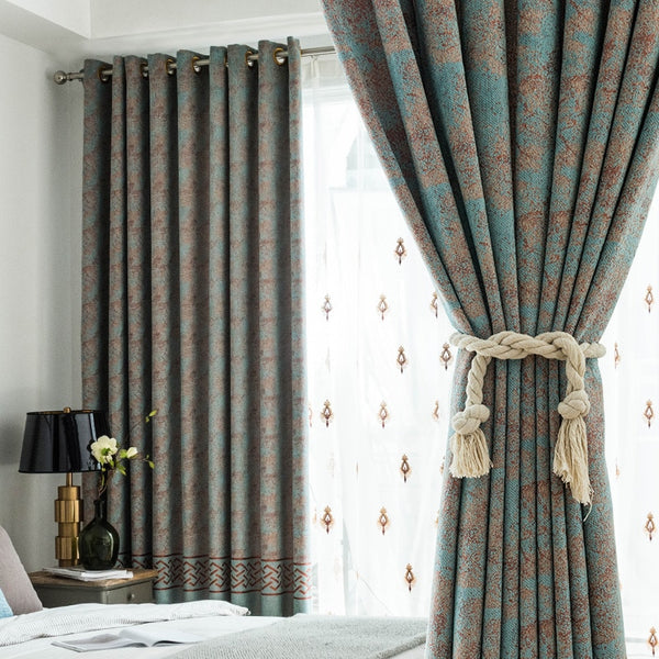 Custom curtains classical Chinese style Chenille livingroom bedroom thick shading cloth blackout curtain tulle drape M800